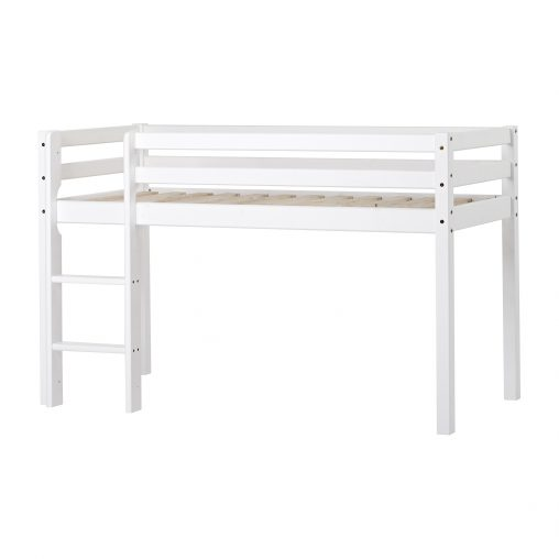 BASIC Halfhigh bed with ladder, non-divisible, White