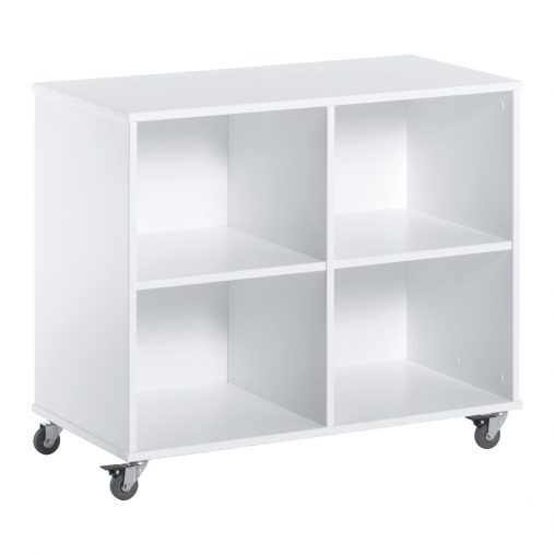 Hoppekids Bookshelf with wheels, 70cm, White, White