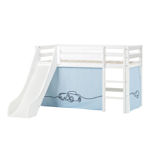 BUNDLE Basic Halfhigh bed  with Slide and Cars curtain,