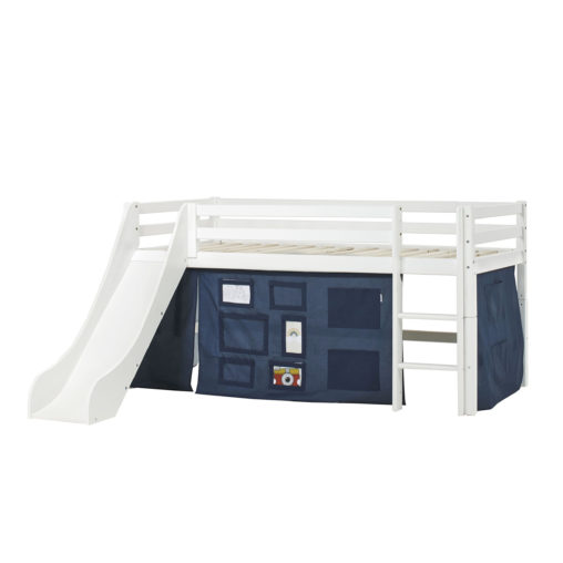 BUNDLE Basic Halfhigh bed  with Slide and Creator Orion Blue curtain, Orion Blue