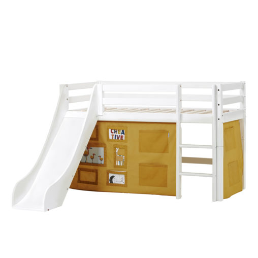 BUNDLE Basic Halfhigh bed  with Slide and Creator Autumn Yellow curtain, Autumn Yellow