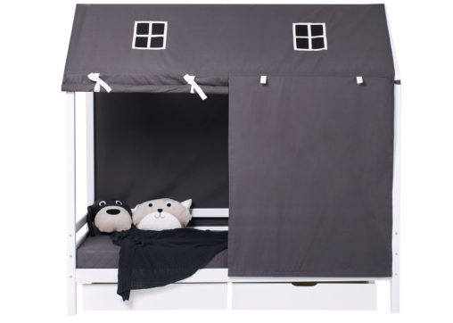 Hoppekids PETS Roof curtains for Housebeds 90 x 200 cm, Granite Grey