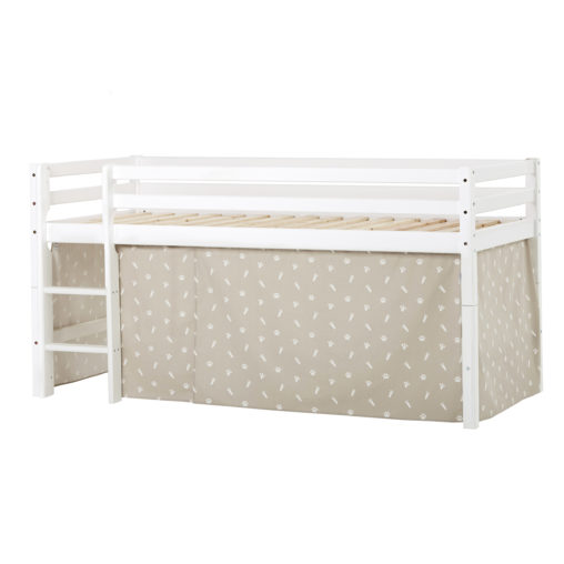 BUNDLE Basic  Half High Bed  with Pets Silver Clouds curtain, Silver Cloud Grey