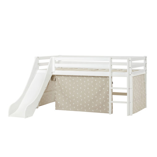 BUNDLE Basic  Half High Bed  with Slide and Pets Silver Clouds curtain, Silver Cloud Grey