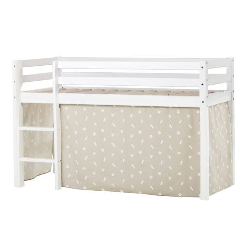 BUNDLE Basic Half High Bed (non-dividable)  with Pets Silver Clouds curtain, Silver Cloud Grey