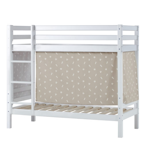 BUNDLE Basic Bunk Bed (non-dividable)  with Pets Silver Clouds curtain, Silver Cloud Grey