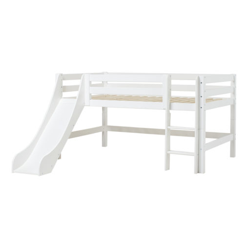 Hoppekids PREMIUM half high bed  with slide, White