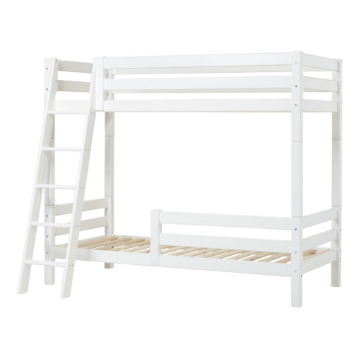 Hoppekids PREMIUM High bunkbed with slant ladder and safety rail 1/2, White
