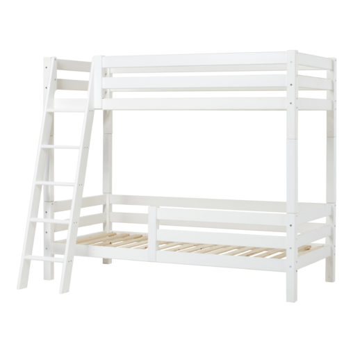 Hoppekids PREMIUM High bunkbed with slant ladder and safety rail 1/2 90 x 200, White