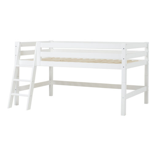 Hoppekids PREMIUM half high bed  with slant ladder, White