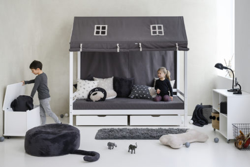 Hoppekids PETS Roof curtains for Housebeds 70 x 160 cm, Granite Grey
