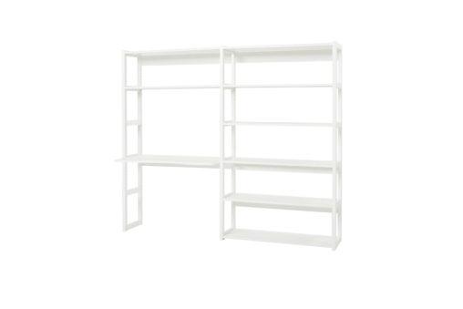 2 sections w/8 shelves and desk 80 x 80, White