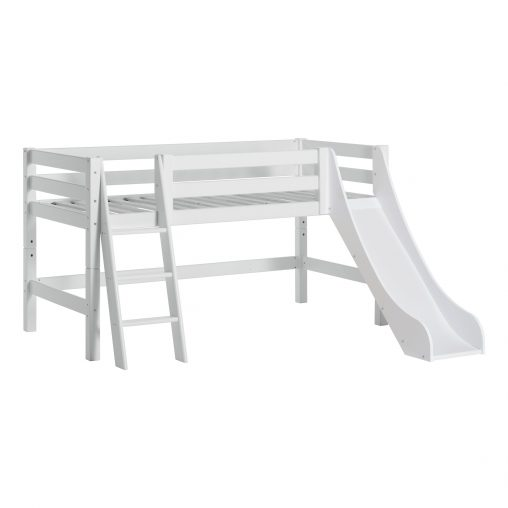 PREMIUM Halfhigh bed with slide and ladder, 90x200 cm, White