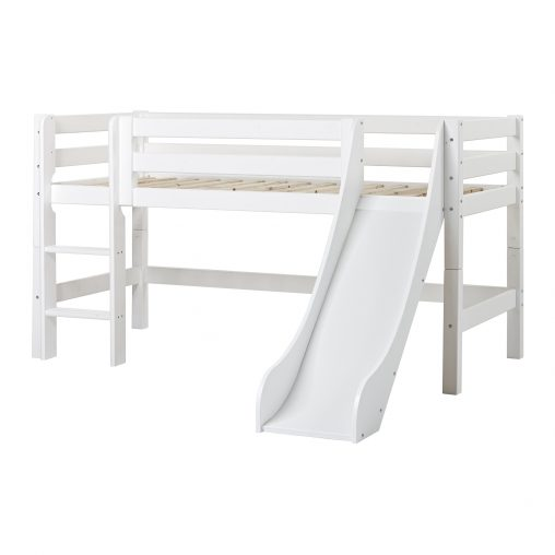 PREMIUM Halfhigh bed with slide and ladder, White