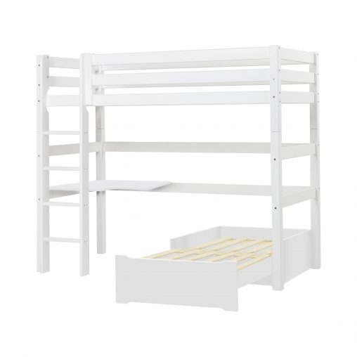 PREMIUM Highbed w/Corner-tabletop and loungemodule, Straight latter, white