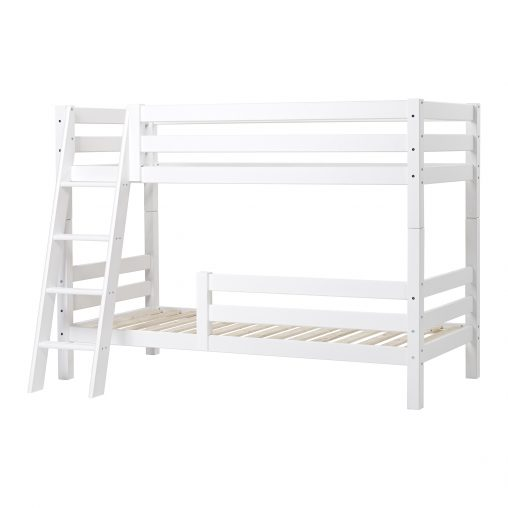 Hoppekids PREMIUM Bunk bed  with two safety rails and slant ladder, White