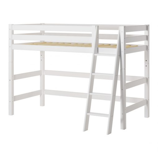 Hoppekids PREMIUM mid high bed  with Slant ladder, White